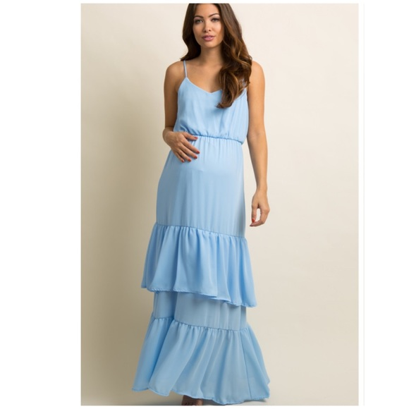 5b26901432d31 Pinkblush Dresses | Light Blue Ruffle Trim Maternity Maxi Dress ...